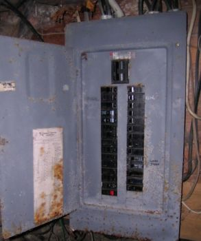 Outdated electric service panel.